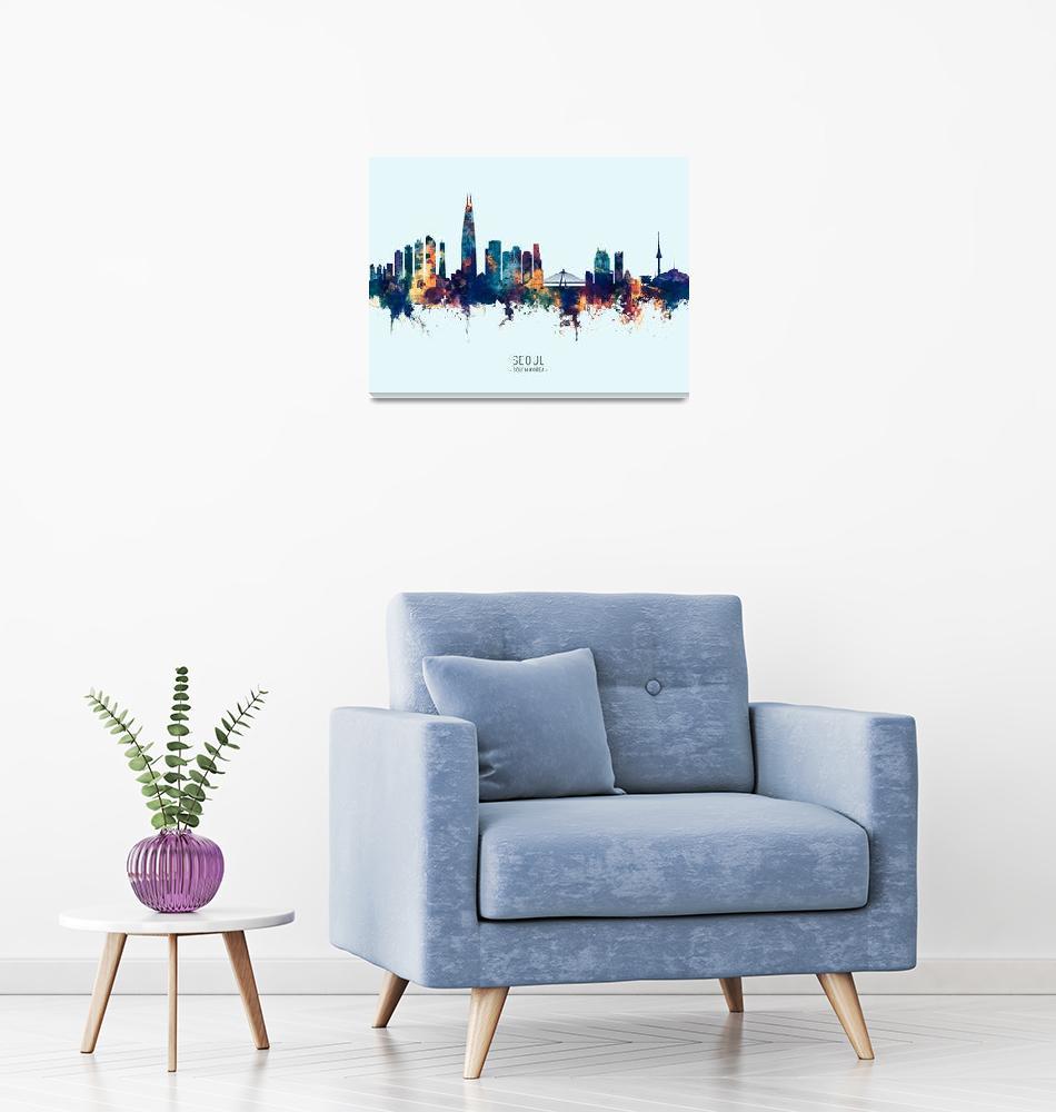 """Seoul Skyline South Korea""  (2019) by ModernArtPrints"