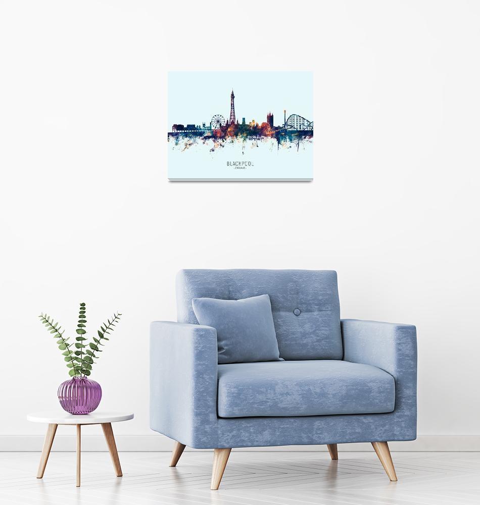 """Blackpool England Skyline""  (2019) by ModernArtPrints"