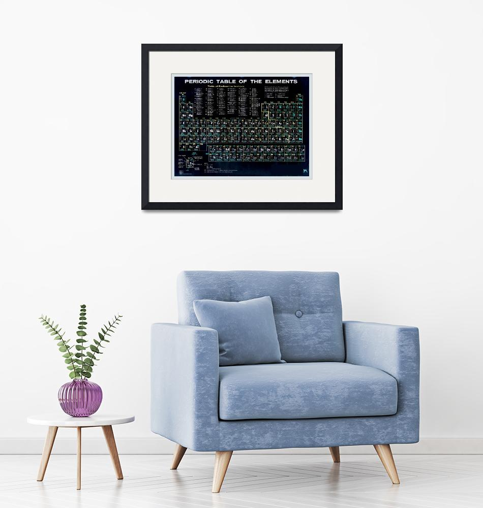 """""""Periodic Table Of The Elements Vintage Chart Black""""  (2015) by RubinoFineArt"""