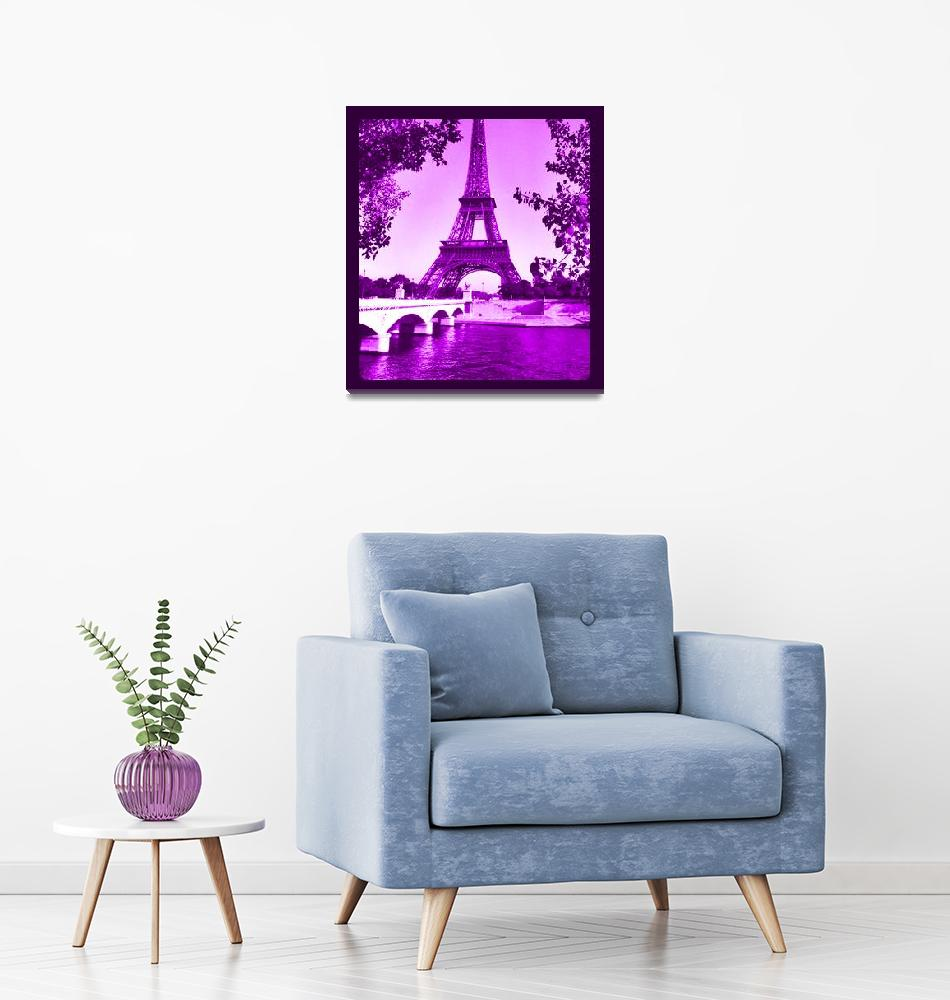 """""""Eiffel Tower Seine River cropped violet border""""  (2013) by TheNorthernTerritory"""