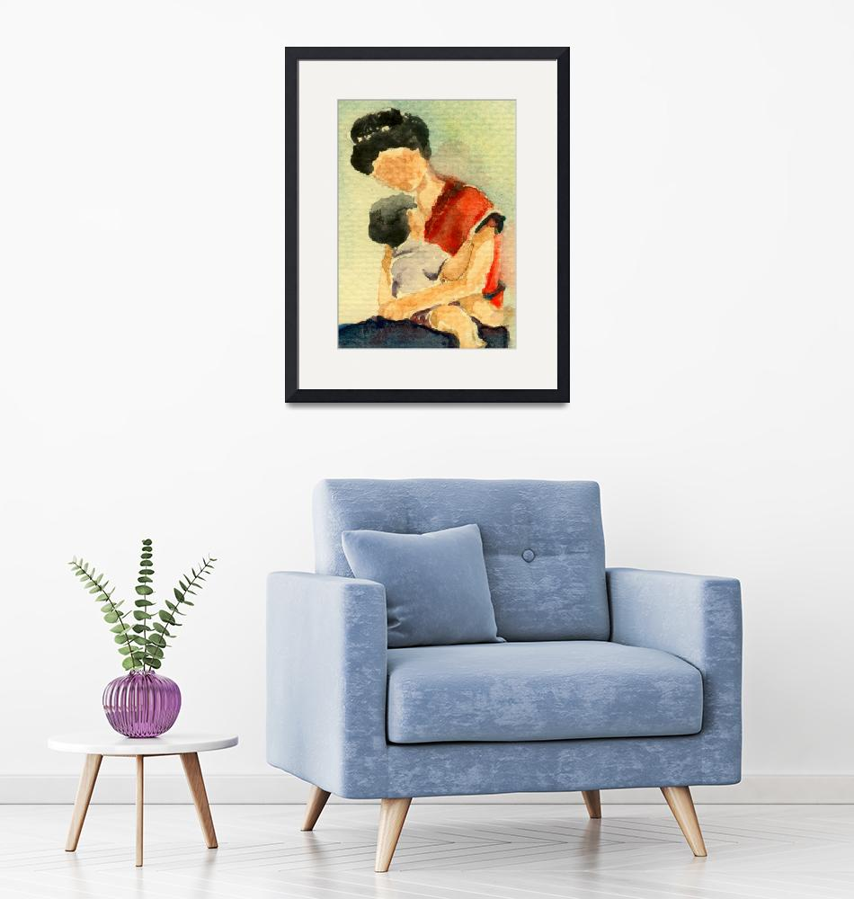 """""""Mother and Baby Watercolor ART (Mama"""