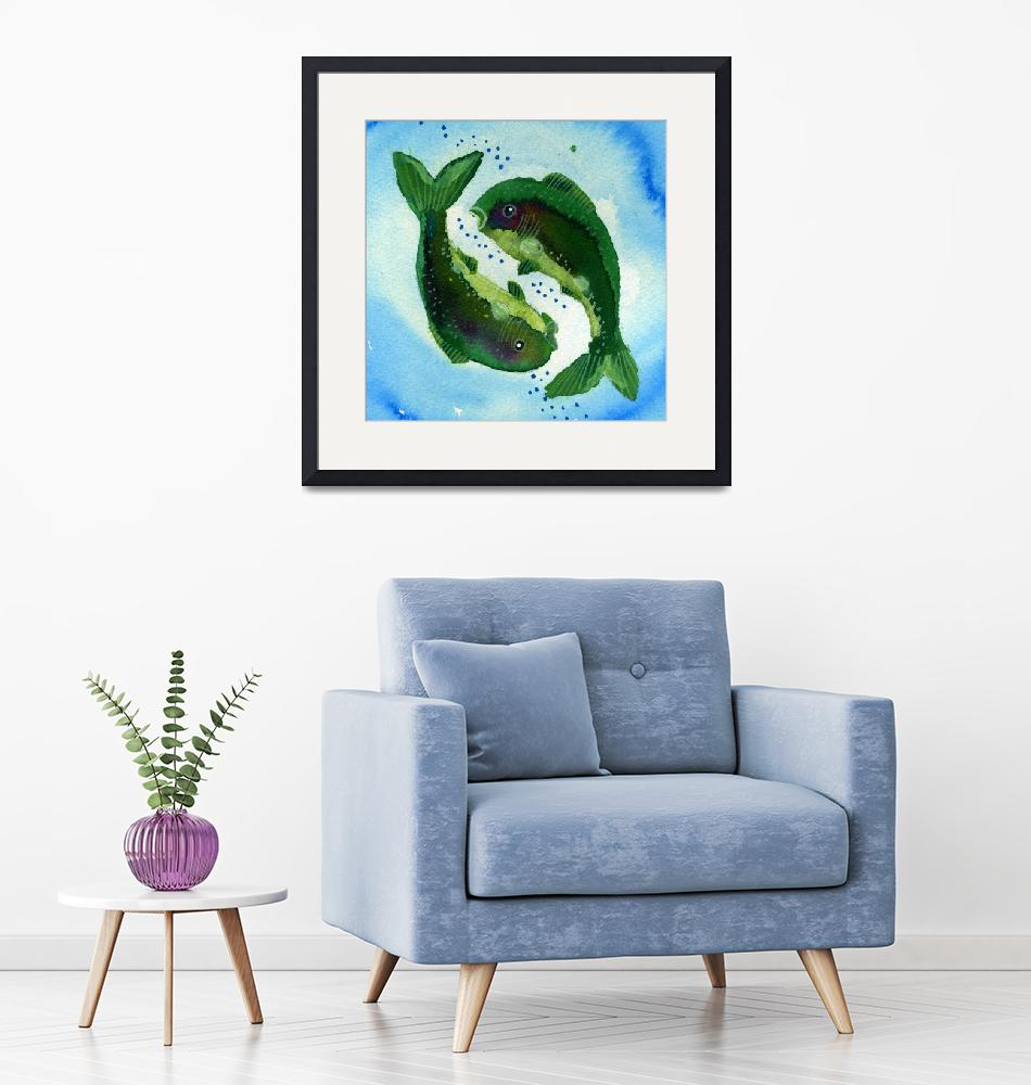"""""""Pisces Zodiac Horoscope Painting""""  (2015) by rotenbergposters"""