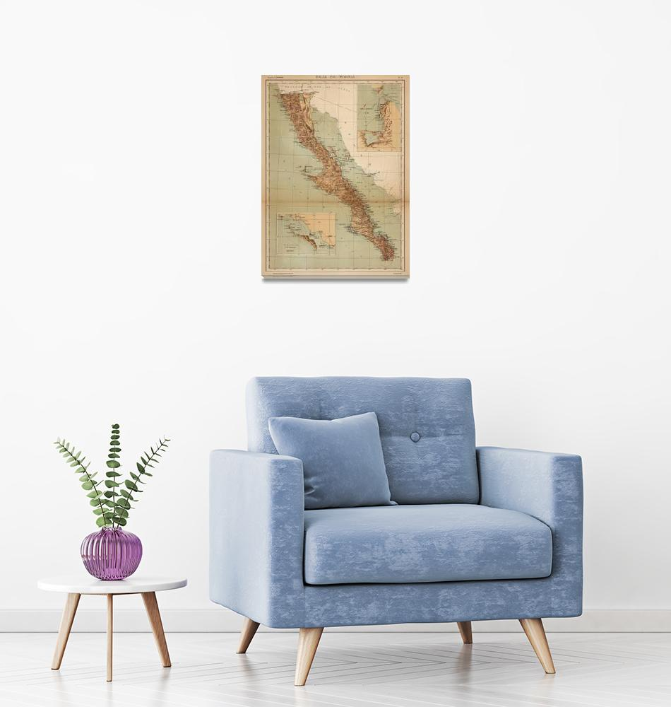 """Vintage Map of Baja California (1922)""  by Alleycatshirts"