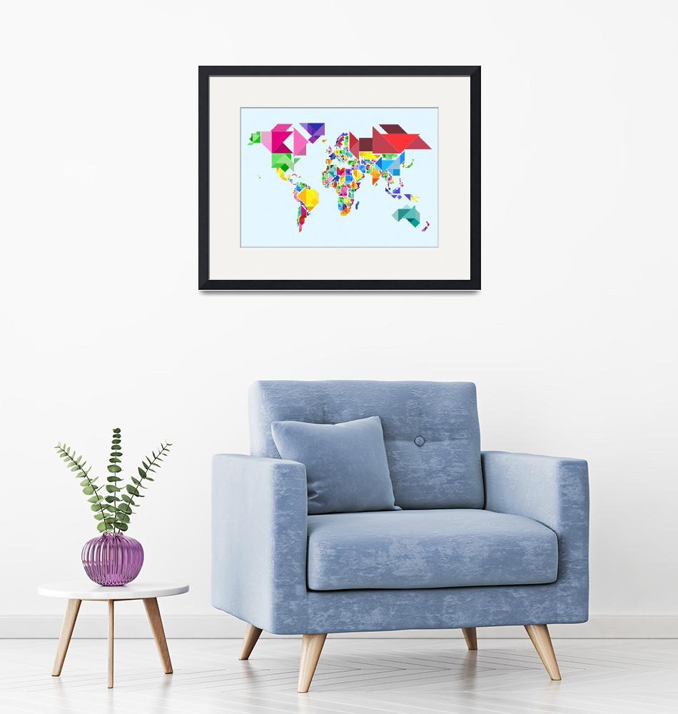 """Tangram Abstract World Map""  (2011) by ModernArtPrints"