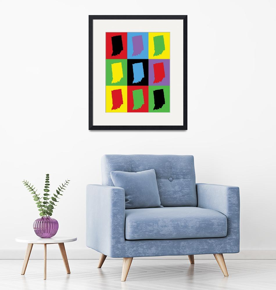 """""""Indiana State Outline Pop Art""""  (2020) by ValeriesGallery"""