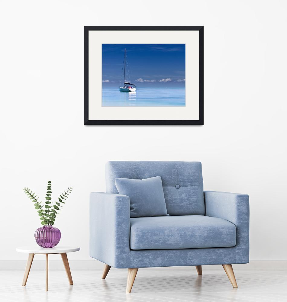 """""""Sailboat on Calm Seas""""  (2018) by ElainePlesser"""