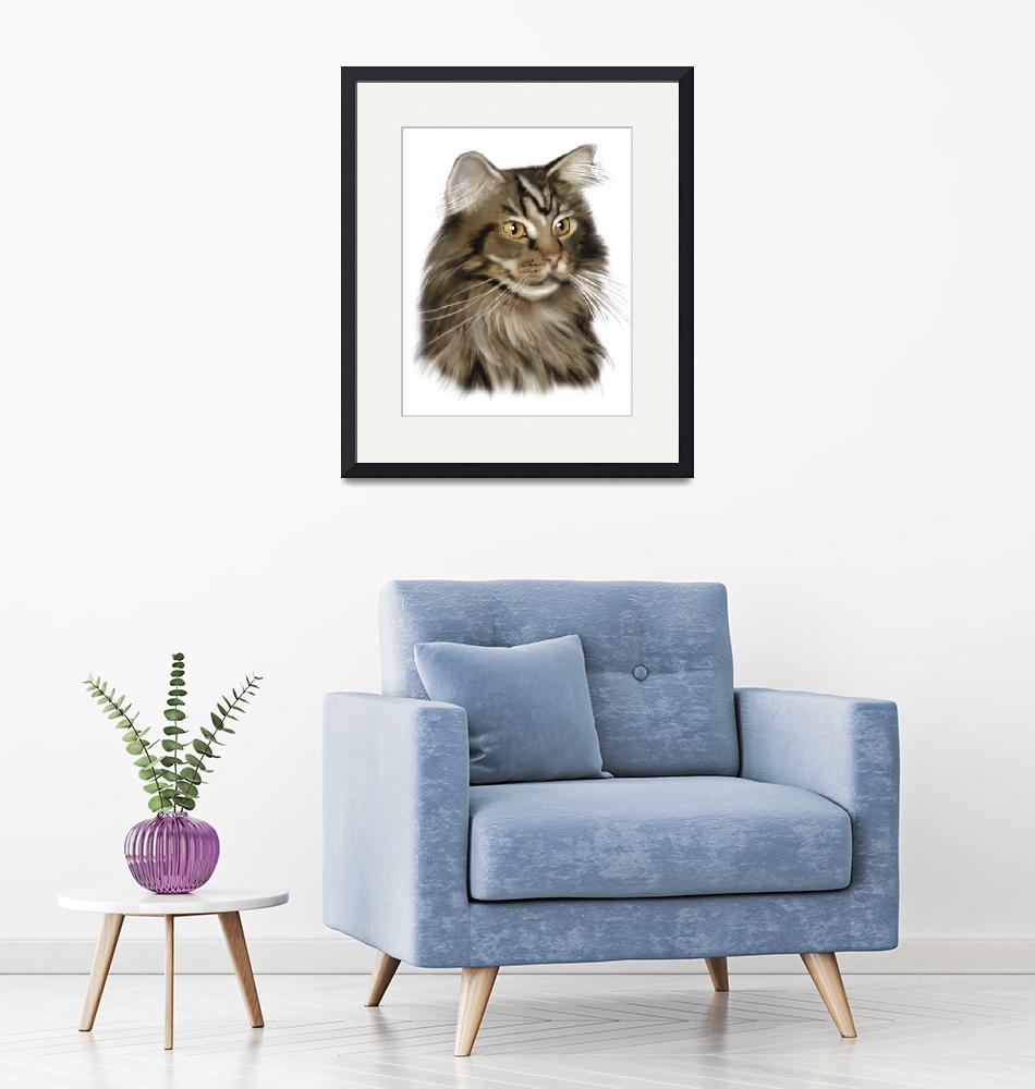 """Black Tabby Maine Coon Cat""  by mainecooncats"