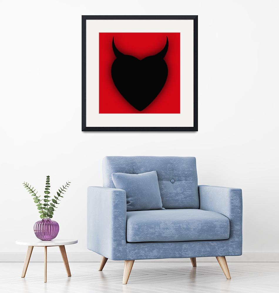 """Heart Series Love Black Devil Horns""  (2018) by RubinoFineArt"