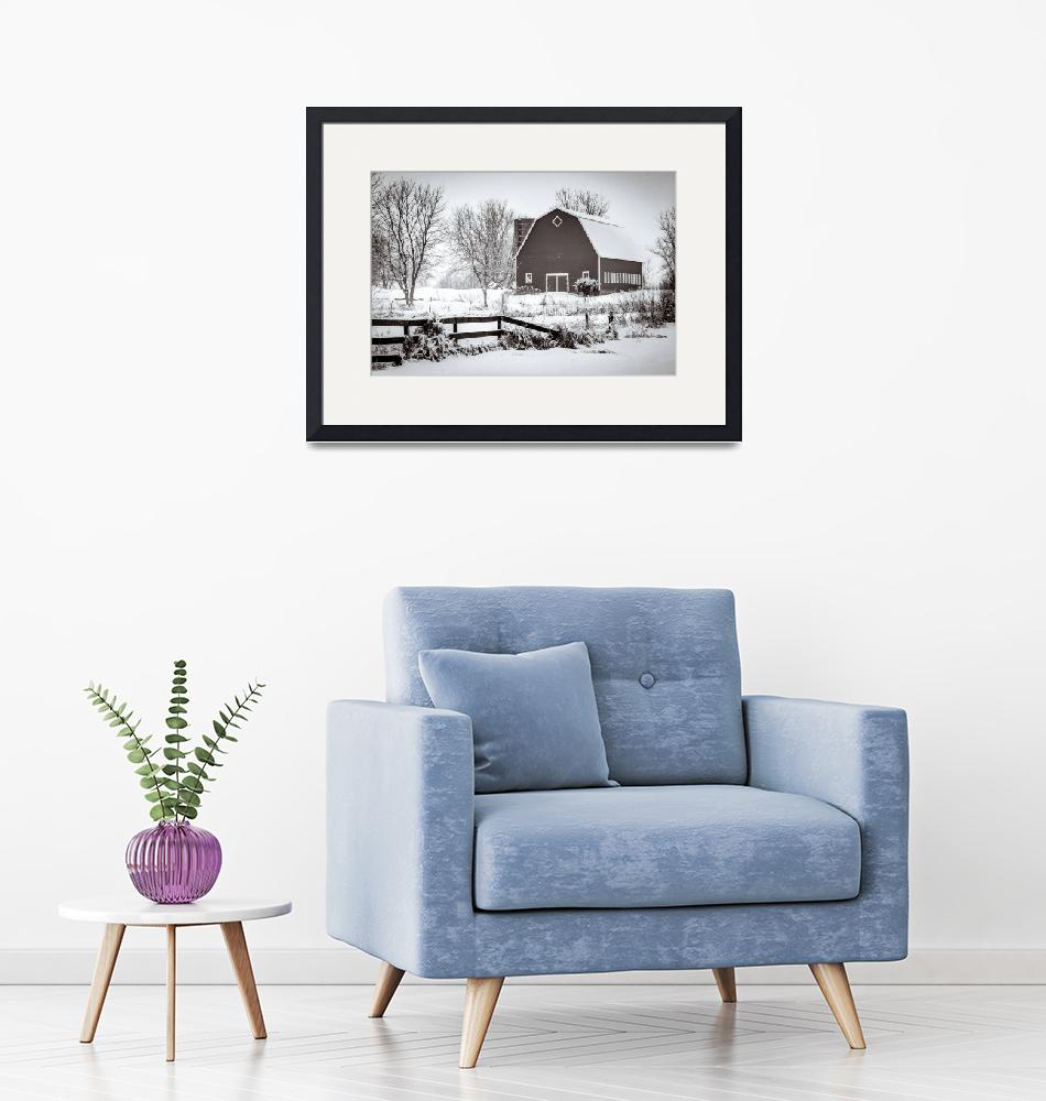 """""""Red Barn in the Snow""""  (2012) by GregLundgrenPhotography"""