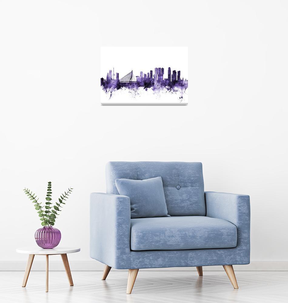 """Rotterdam The Netherlands Skyline""  (2018) by ModernArtPrints"