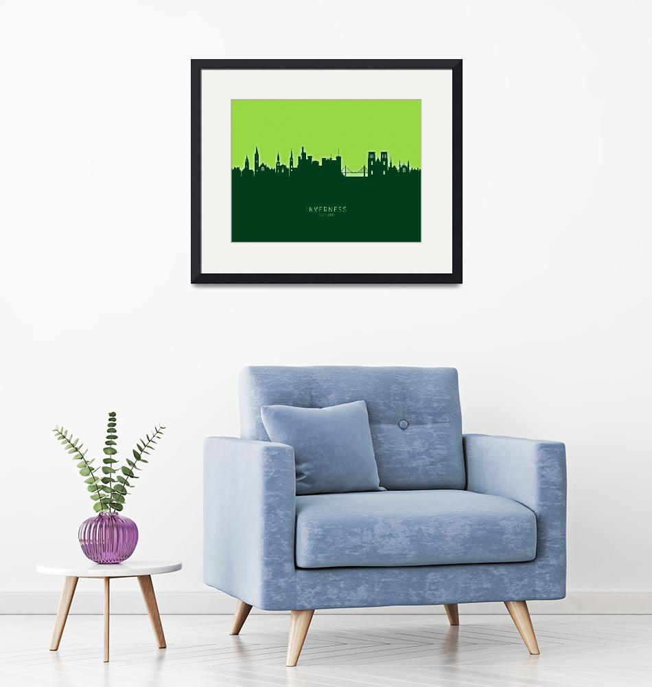 """Inverness Scotland Skyline""  (2020) by ModernArtPrints"