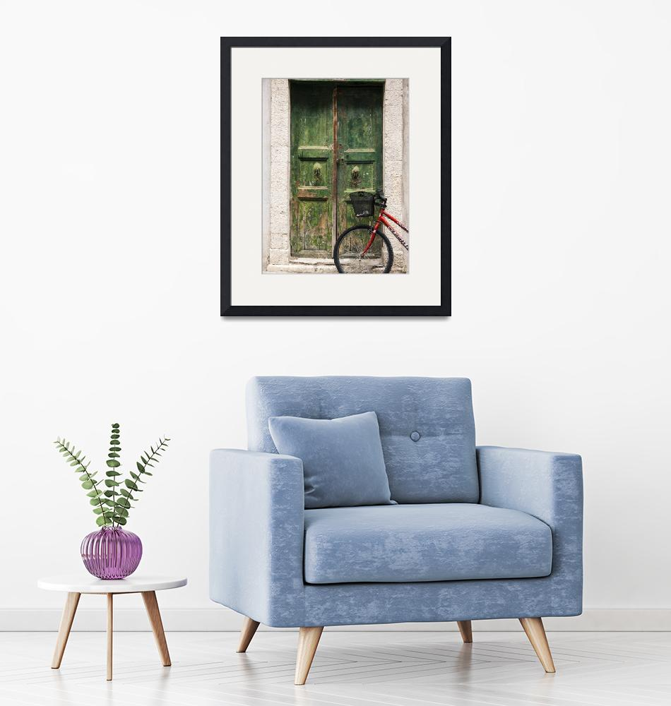 """""""Green Door and Bicycle""""  (2018) by raetucker"""