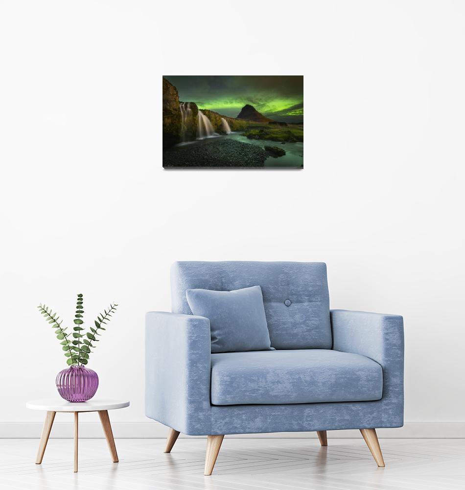 """Kirkjufell Mountain Northern Lights in Iceland by""  by cyorkphoto"
