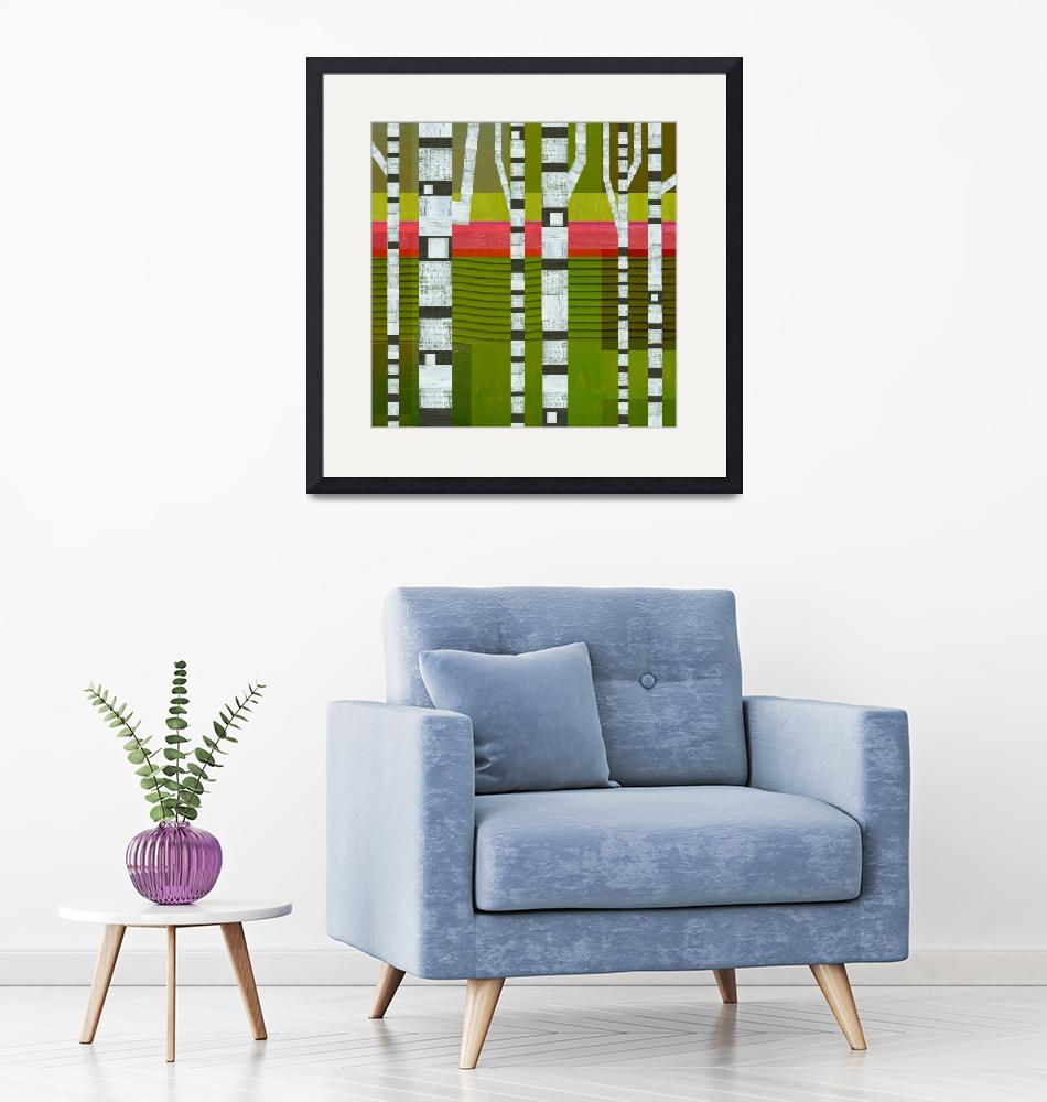"""""""Birches with Pink and Green Stripes""""  (2018) by Michelle1991"""
