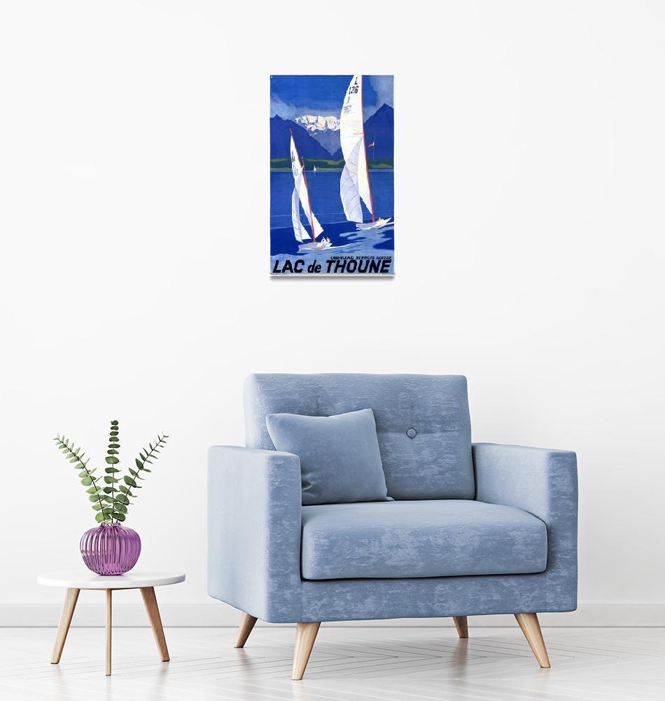 """Lac de Thoune, Switzerland Vintage Travel Poster""  by FineArtClassics"
