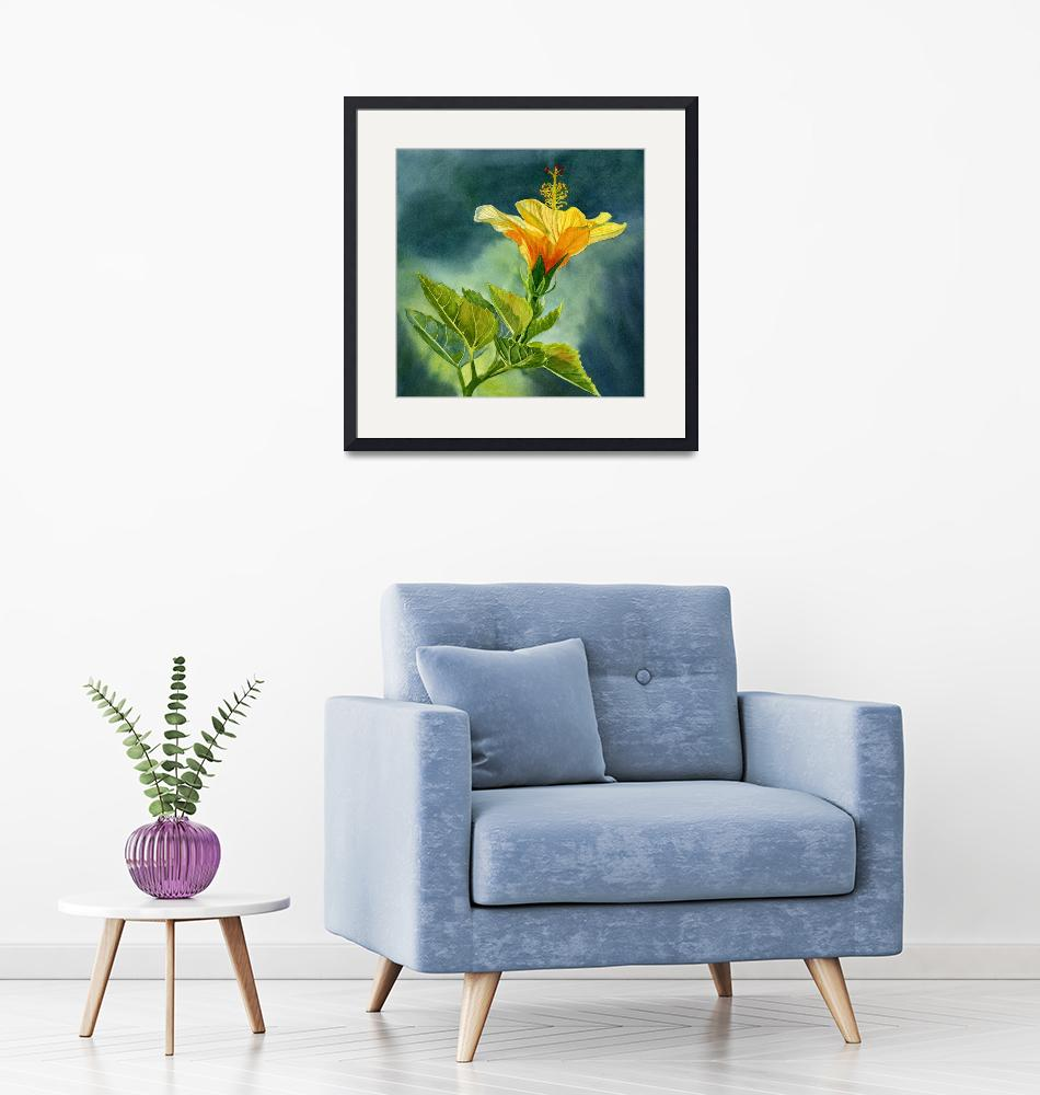 """""""One Yellow Orange Hibiscus Flower with Background""""  (2017) by Pacific-NW-Watercolors"""