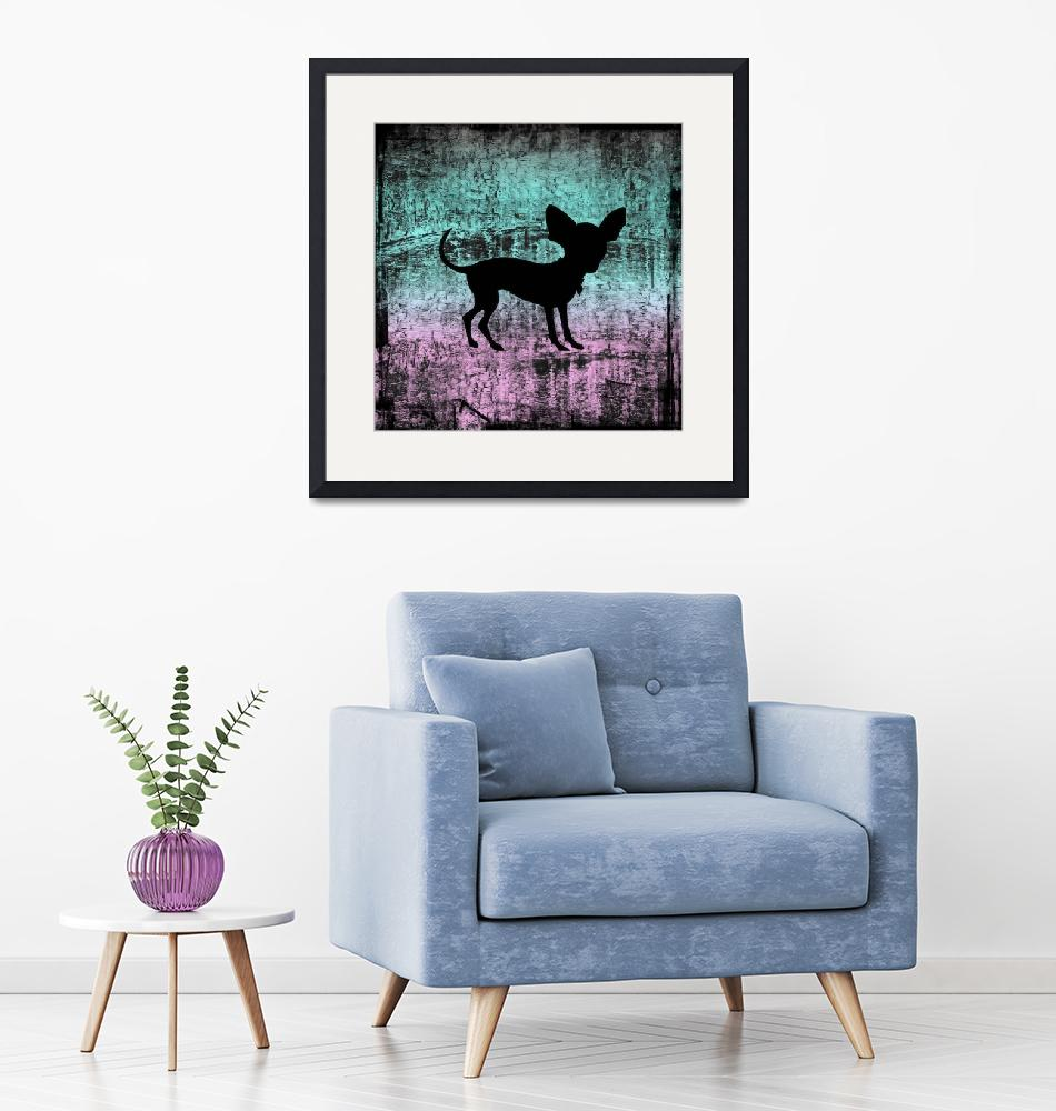 """""""Chihuahua Silhouette on Miami Vice Grunge"""" (2013) by SignaturePromos"""