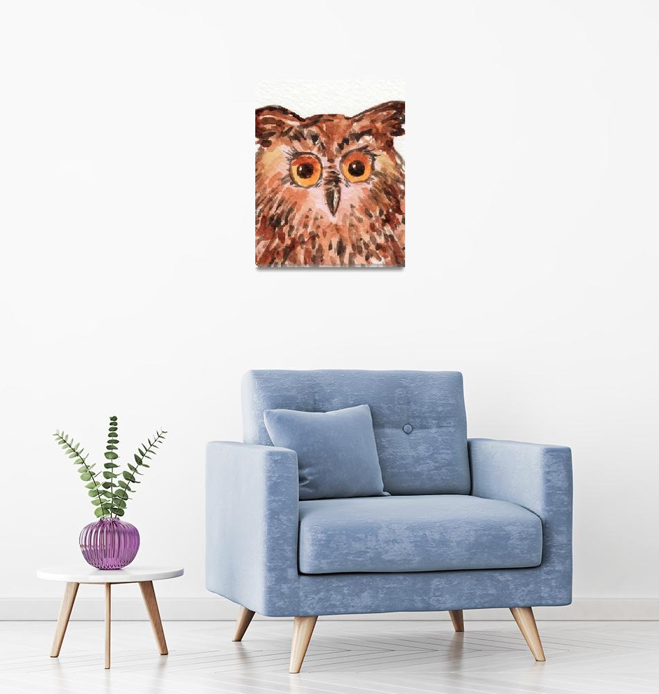 """Baby Owl Curious Bird Watercolor Painting""  (2019) by IrinaSztukowski"
