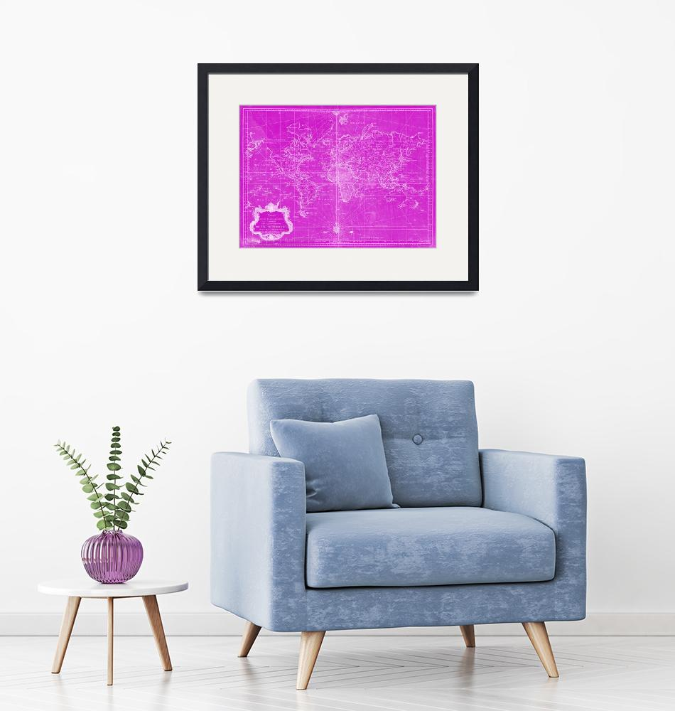 """""""World Map (1778) Pink & White""""  by Alleycatshirts"""