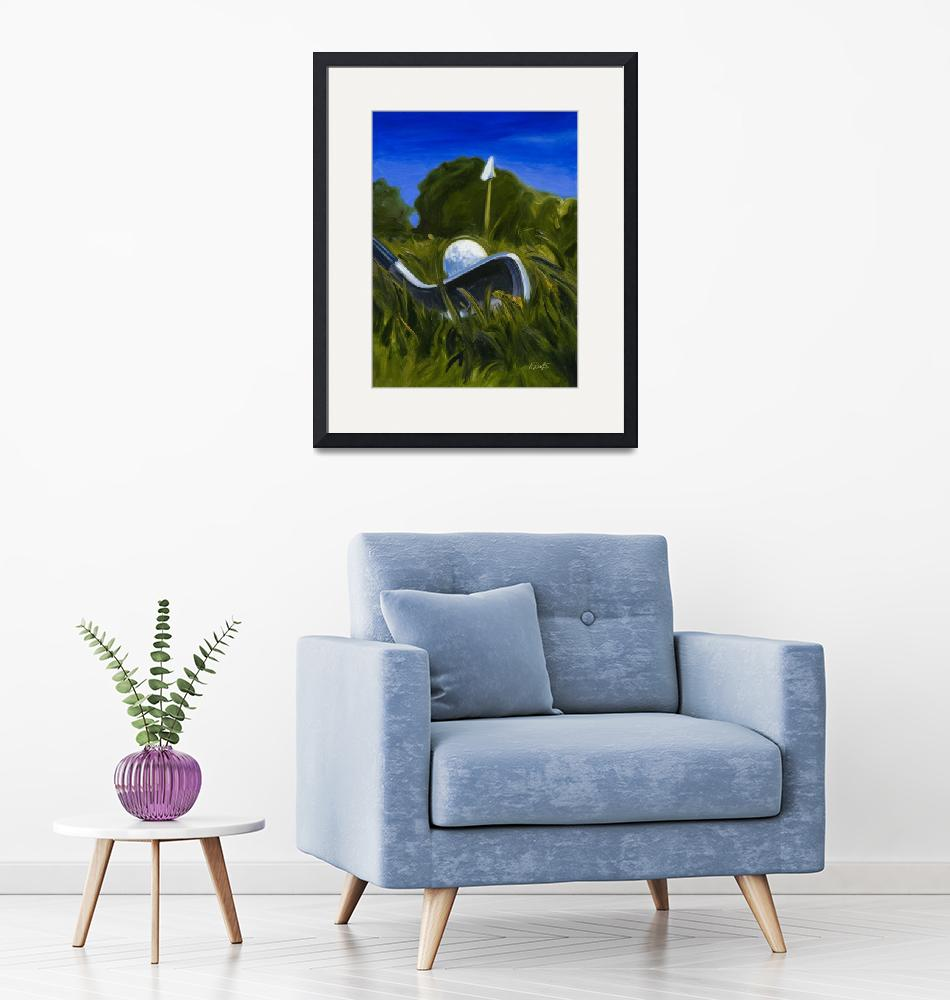 """""""Keating Golf Iron Approach Shot to Flag Print""""  (2007) by KeatingArt"""