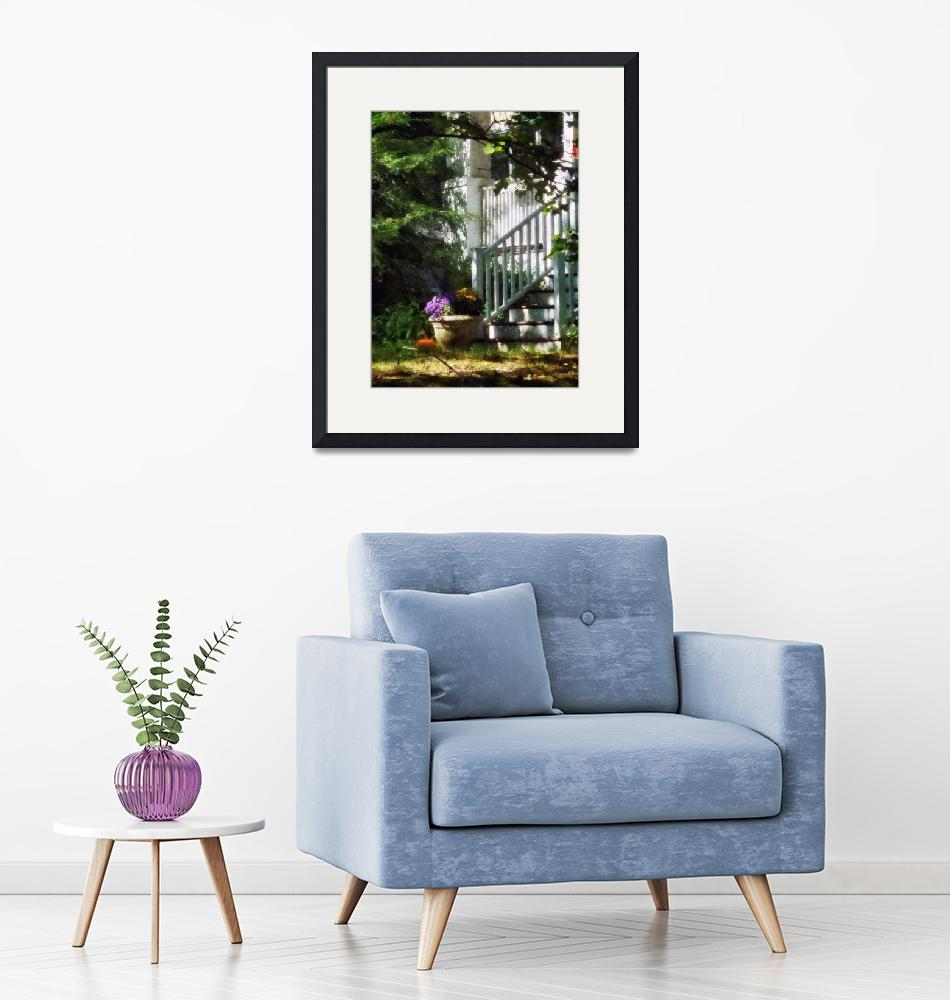"""""""Porch With Urn and Pumpkin""""  by susansartgallery"""