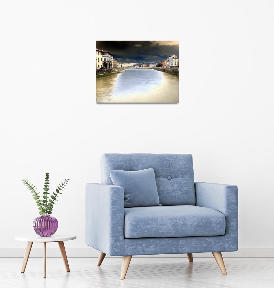 """Bridge over Arno after Sunset 3""  by digitalart"