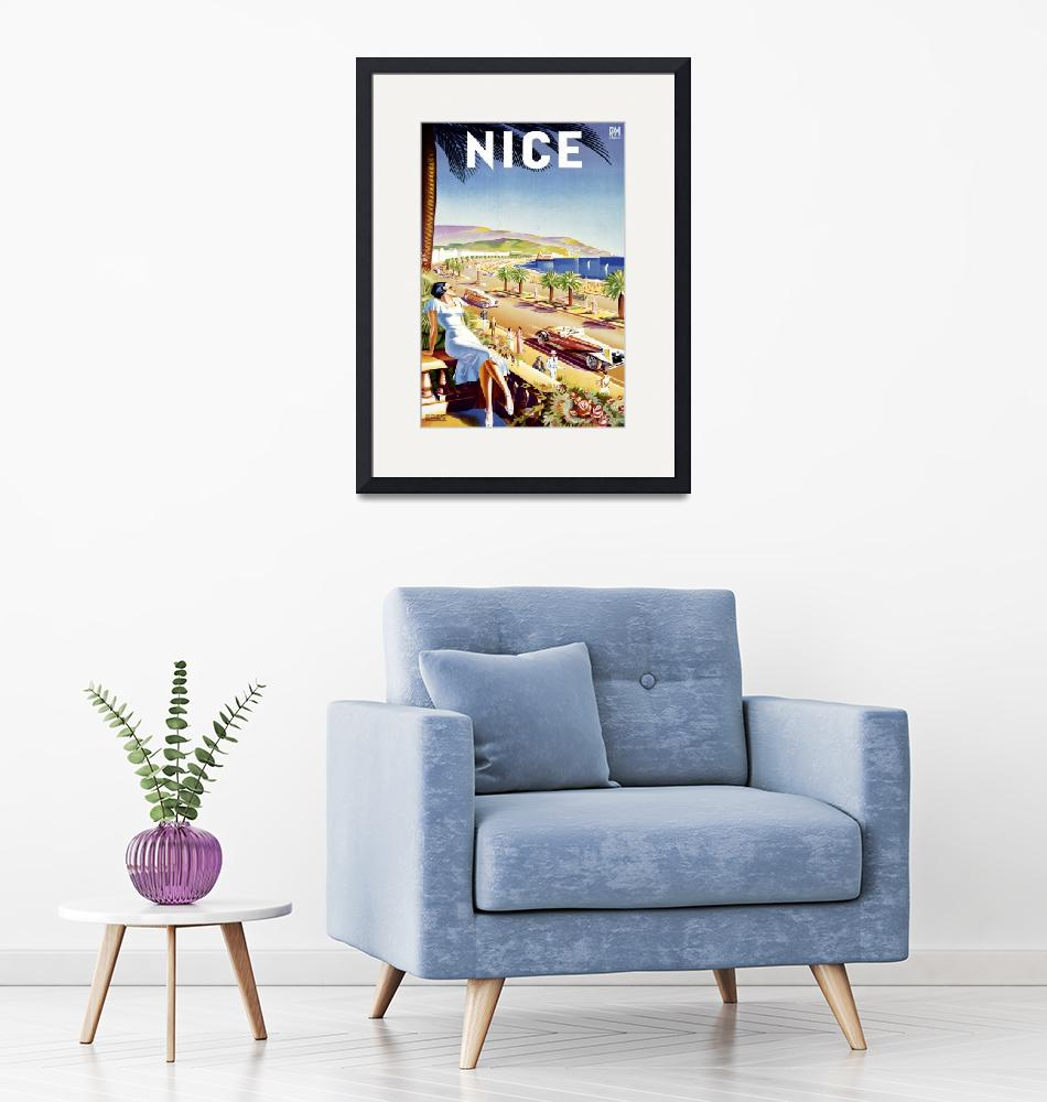 """""""Nice, France Vintage Travel Poster""""  by FineArtClassics"""