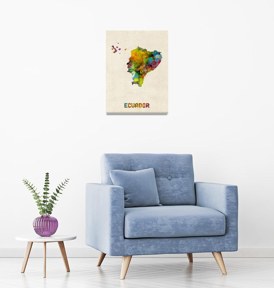 """Ecuador Watercolor Map""  (2014) by ModernArtPrints"