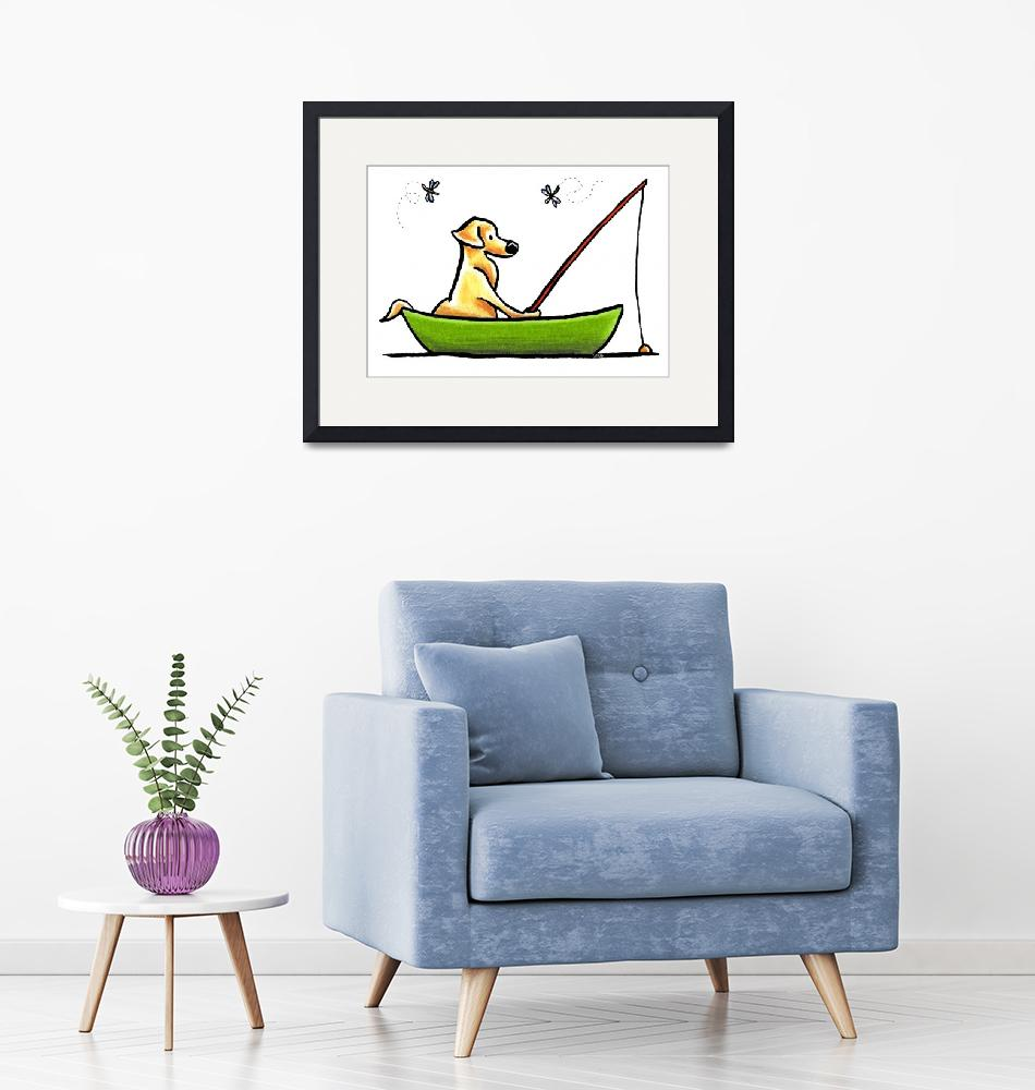 """Yellow Lab Fishing""  (2011) by OffLeashArt"