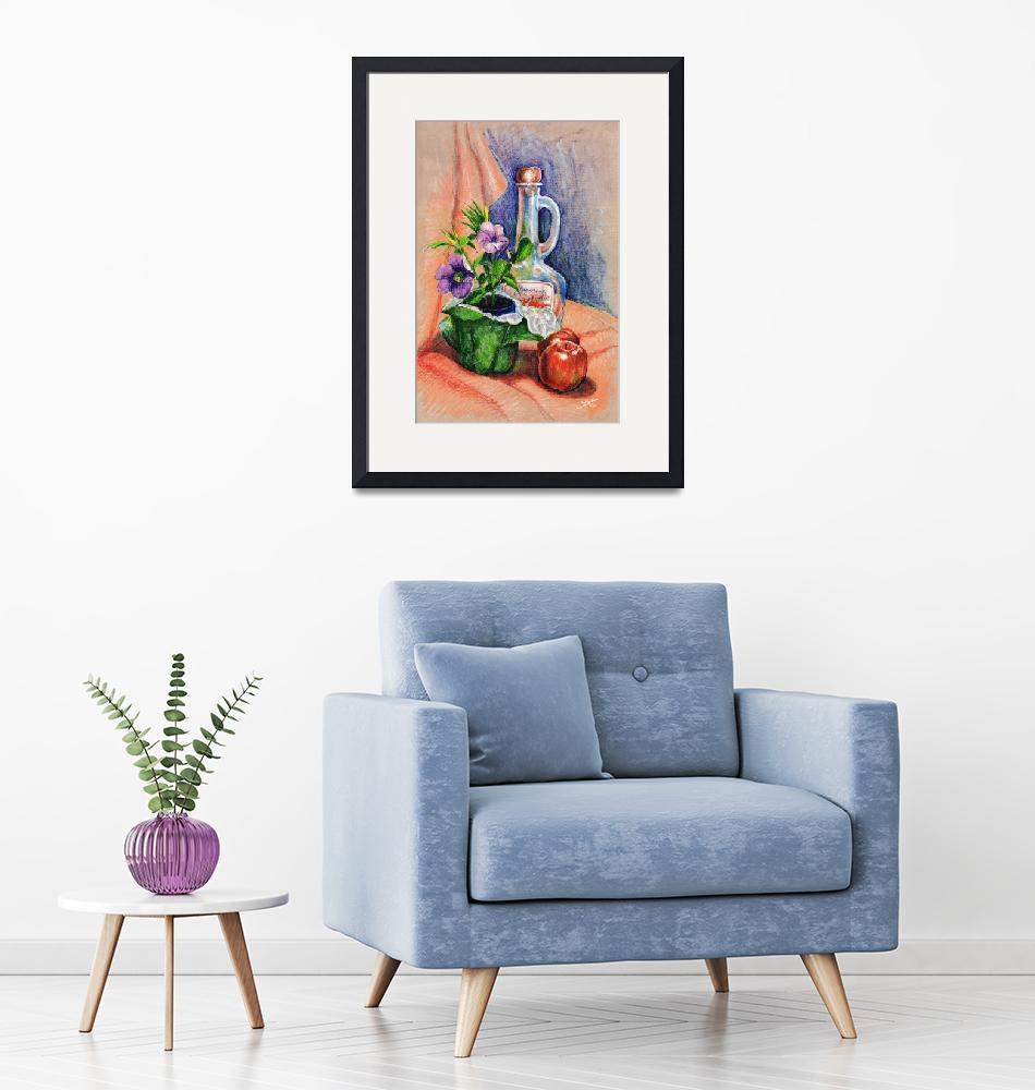 """""""Bottle with plants still life""""  (1990) by sboyle"""