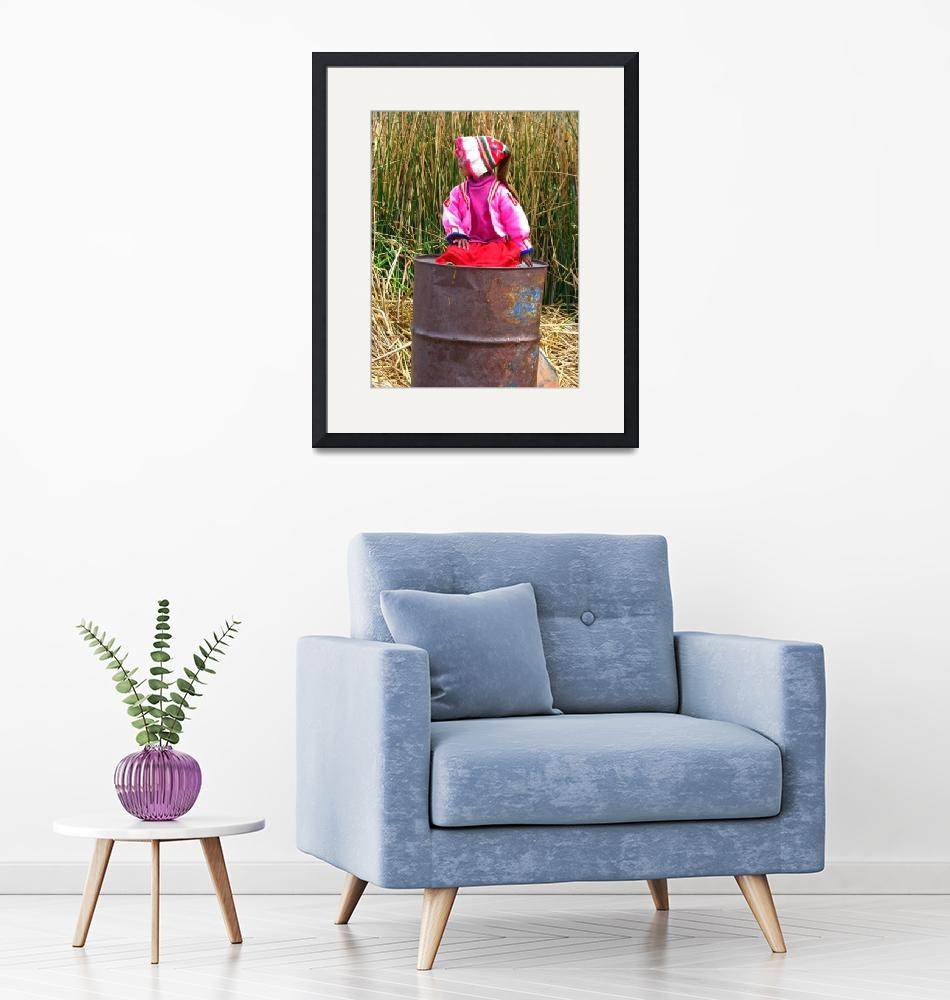 """""""girl on a trashcan at Titicaca lake""""  (2010) by Maly"""