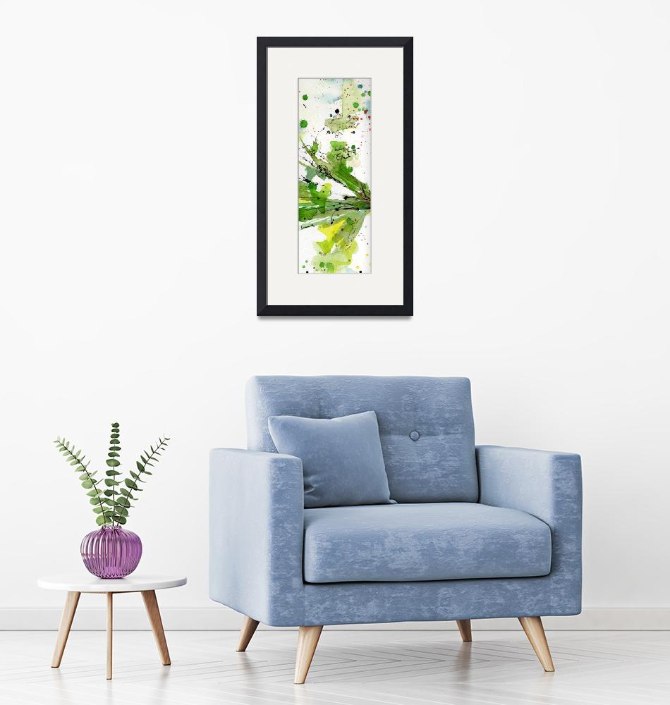 """""""Abstract Green Spray Parsley Watercolor""""  (2012) by GinetteCallaway"""