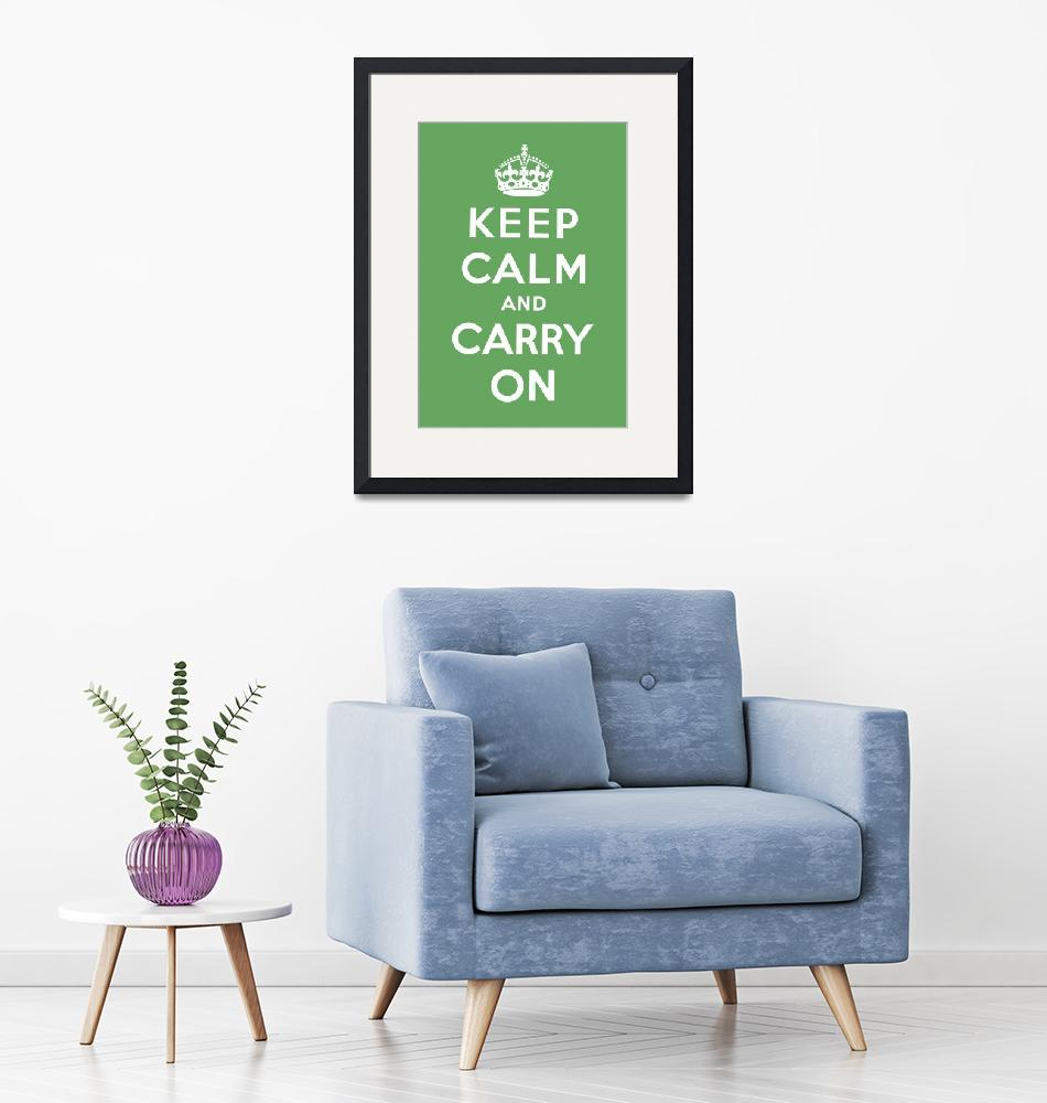 """Green Keep Calm And Carry On 8""  by oldies"