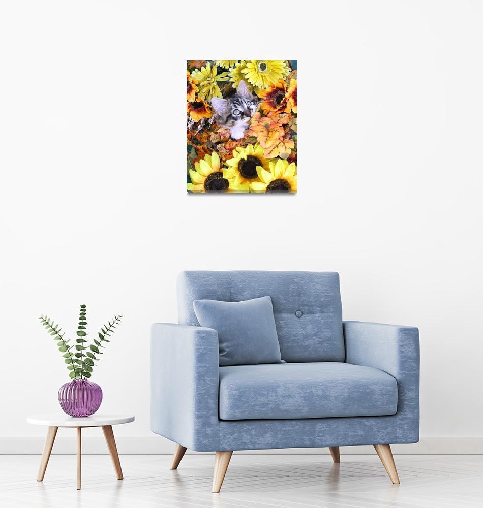 """Kitty Cat Kitten Chewing Fall Leaves,Flower Basket""  by Chantal"