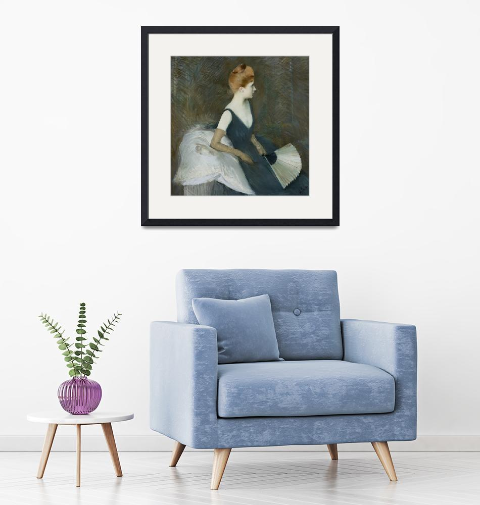 """Madame Marthe Letellier Sitting on a Sofa, Holdin""  by fineartmasters"