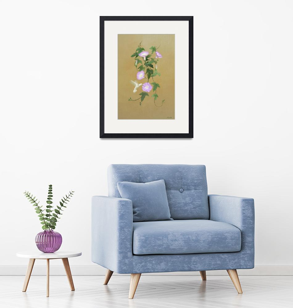 """""""White Hummingbird and Morning Glory Vine""""  (2019) by spadecaller"""