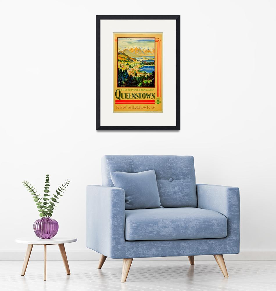 """""""Vintage Queenstown New Zealand Travel""""  by PDGraphics"""