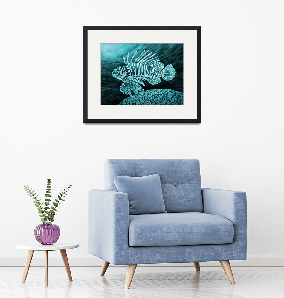 """""""Lionfish in Blue""""  by HaileyWatermedia"""