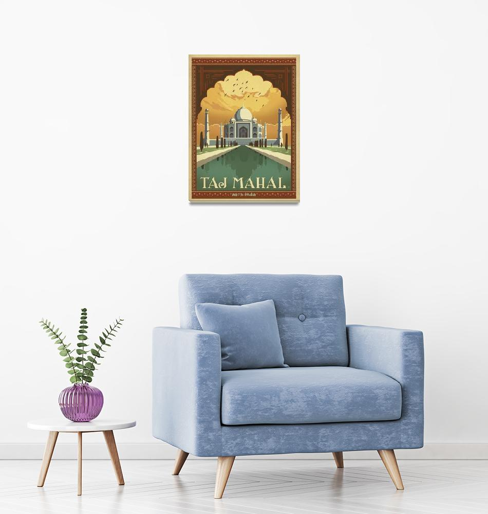 """Taj Mahal - Agra, India Retro Travel Poster""  by artlicensing"