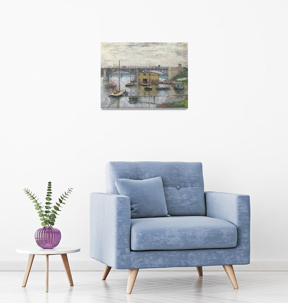 """""""Bridge at Argenteuil on a Gray Day by Claude Monet""""  by FineArtClassics"""