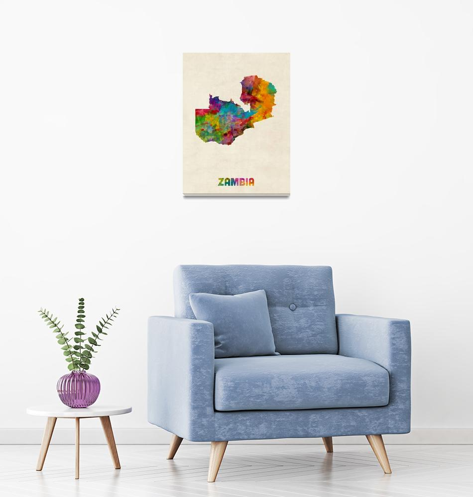 """Zambia Watercolor Map""  (2015) by ModernArtPrints"