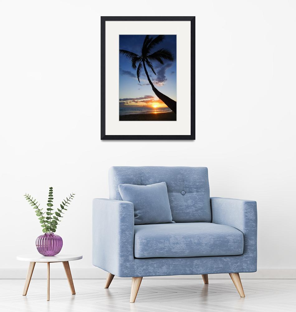 """Hawaii, Maui, Kihei, Sunset At Kamaole Beach""  by DesignPics"
