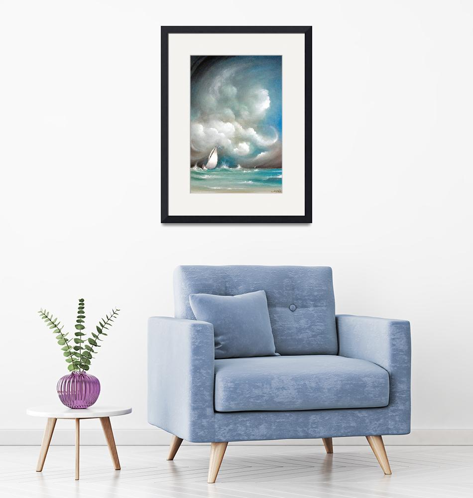 """""""Sailboat in Stormy Sea""""  (2004) by sgnarts"""