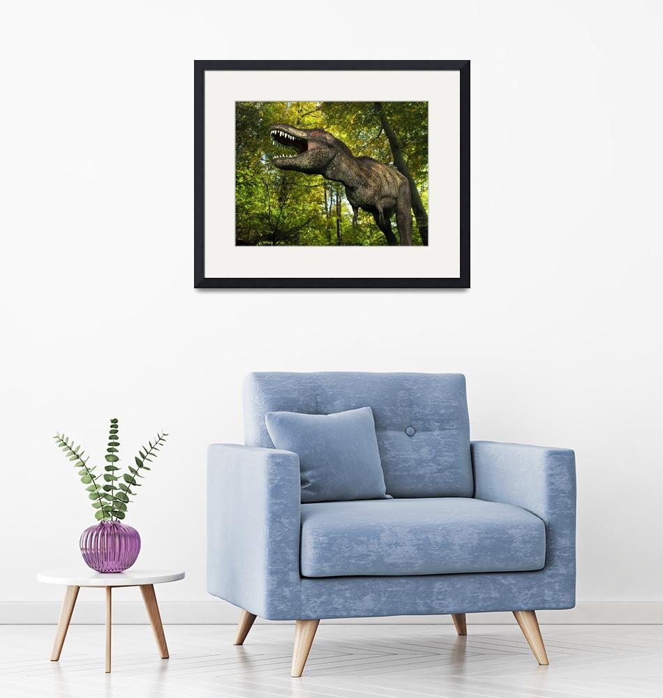 """""""A Tyrannosaurus wanders a Cretaceous forest""""  by stocktrekimages"""