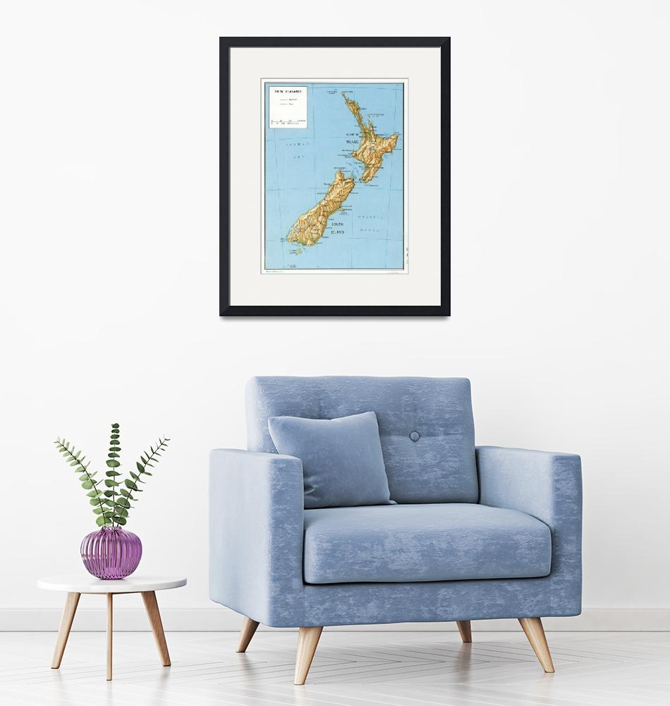 """Vintage Map of New Zealand (1971)""  by Alleycatshirts"