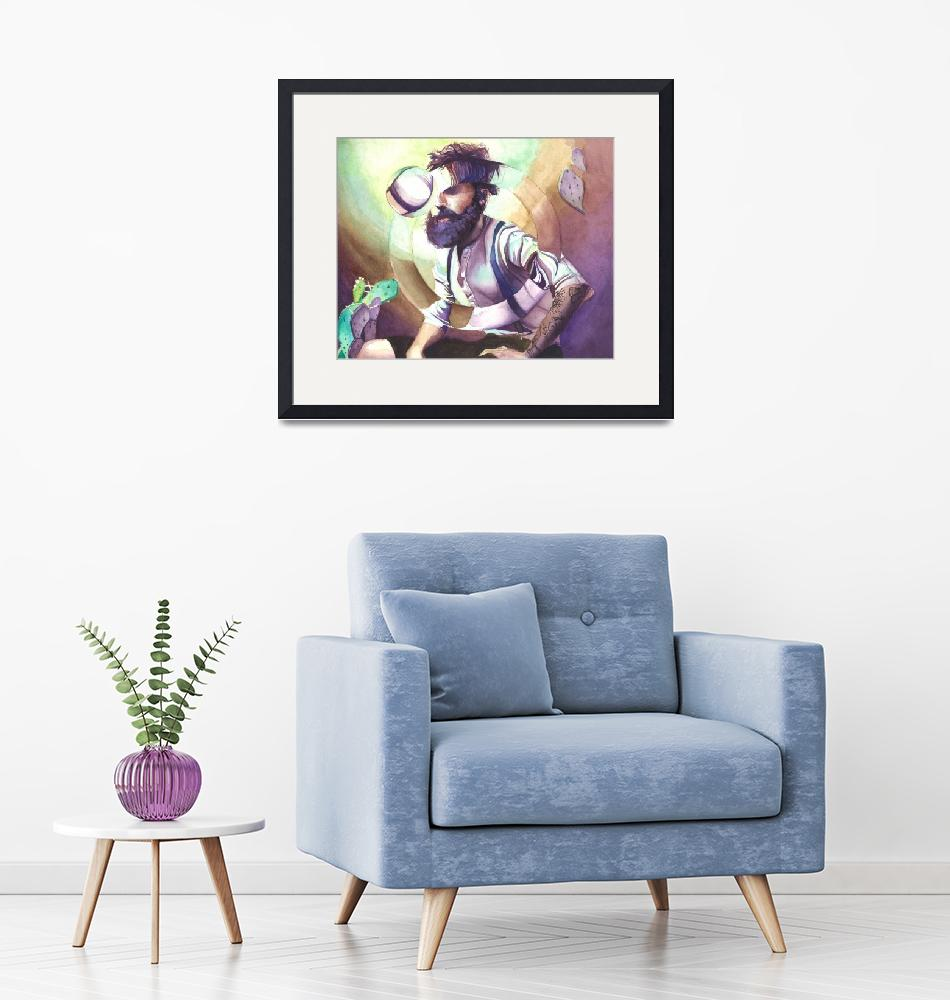 """""""globe man watercolor print""""  (2017) by clyde"""