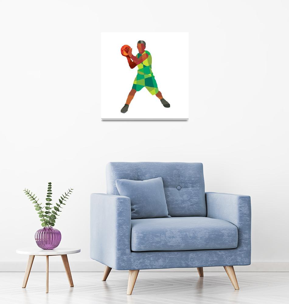 """""""Basketball Player Ball In Action Low Polygon""""  (2015) by patrimonio"""