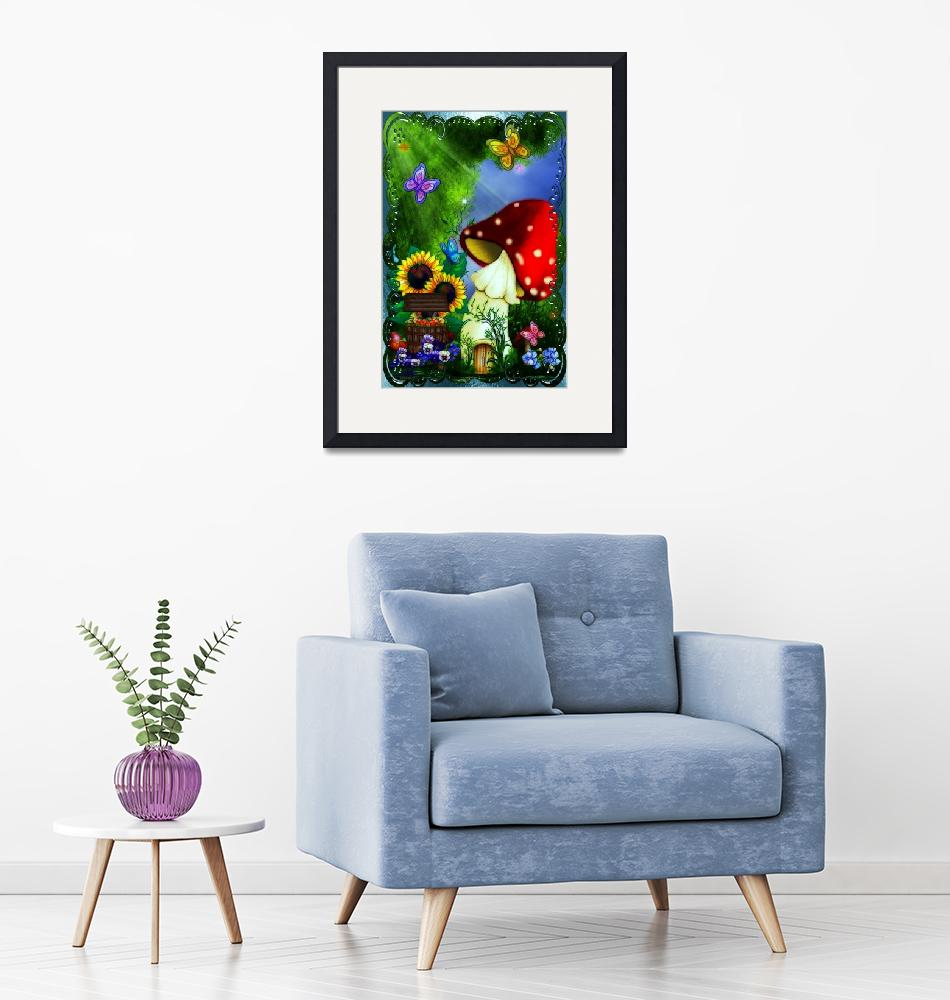 """""""Shroom Gully Whimsical Fantasy Art""""  (2011) by ReneeLozenGraphics"""