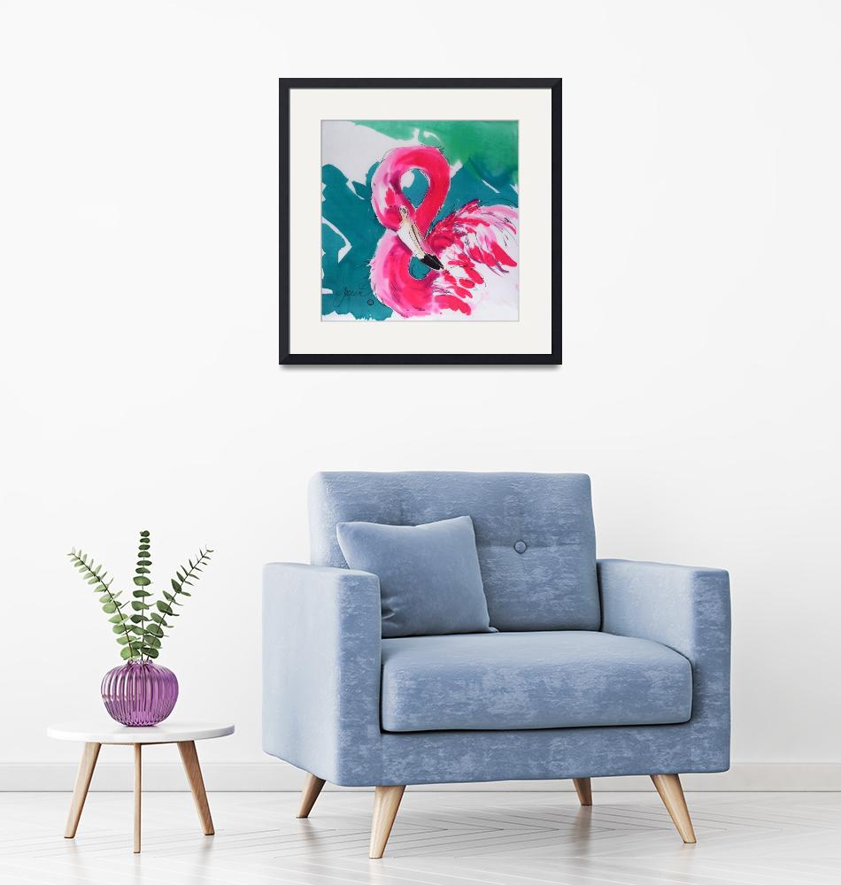 """Fabulous Flamingo Print""  (2004) by Greerdesigns"