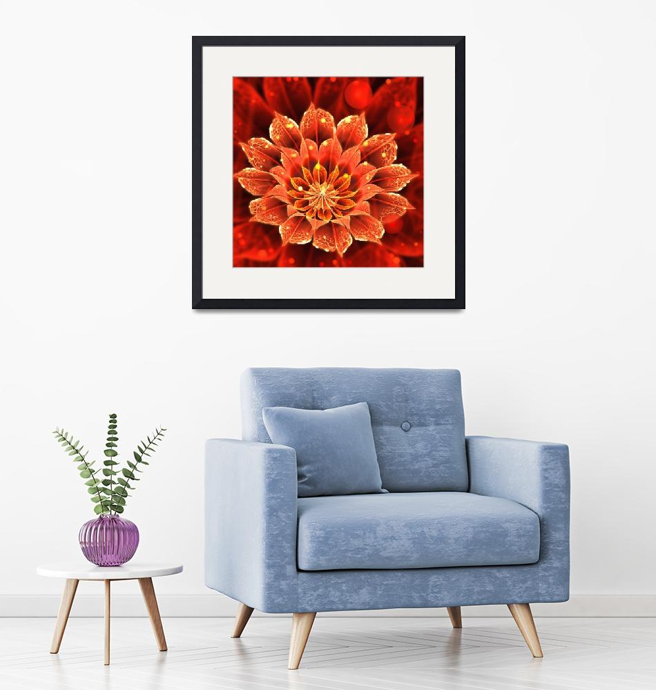 """""""Beautiful Red Dahlia Bloom of Fire""""  (2016) by jaya-prime"""